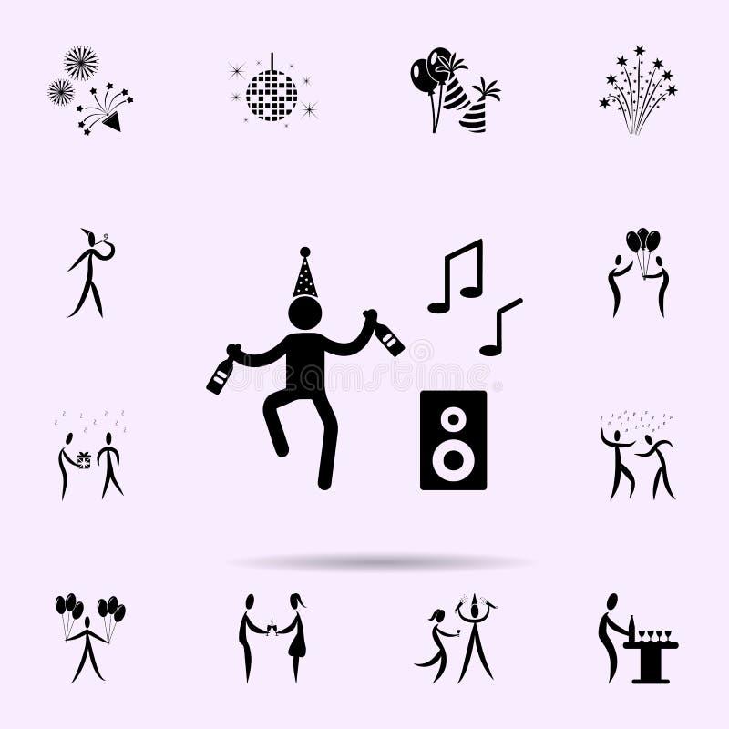 танец к значку музыки Набор значков партии всеобщий для сети и черни иллюстрация вектора