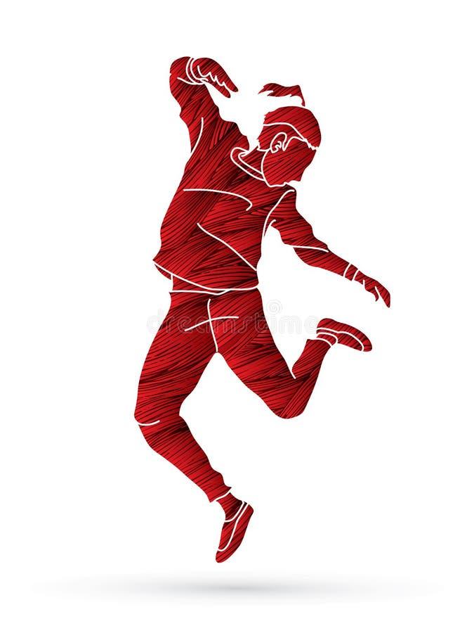 Танец улицы, мальчики b танцует, тазобедренный вектор графика действия танцев хмеля иллюстрация штока
