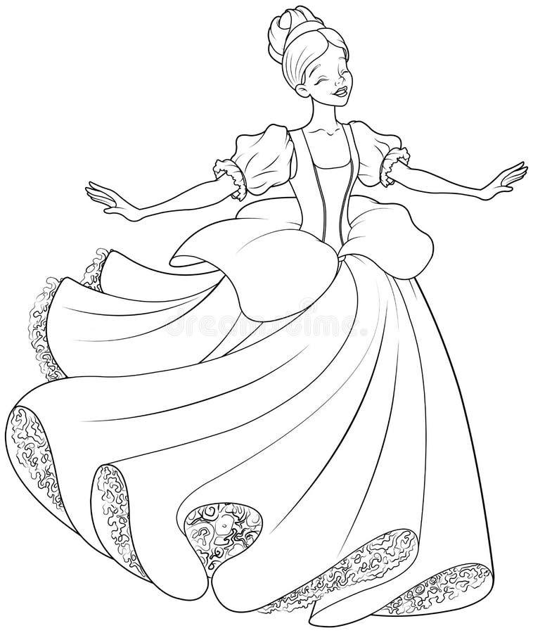Танец шарика страницы расцветки Золушкы иллюстрация вектора
