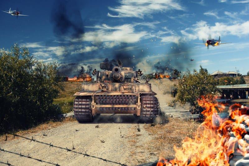 Танк атаковал деревню стоковое фото rf