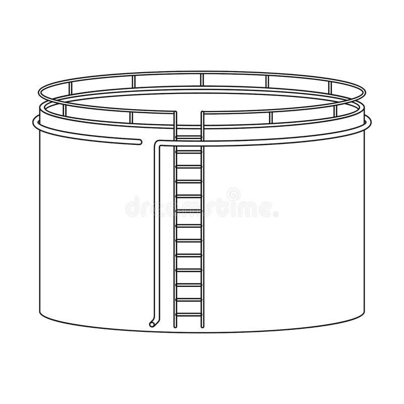 Танк нефтехранилища Значок масла одиночный в сети иллюстрации запаса символа вектора стиля плана иллюстрация штока