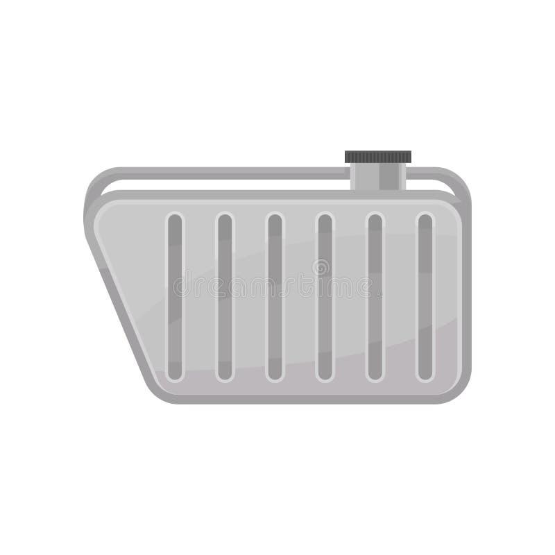 Танк нефти металла автомобиля Контейнер для топлива Часть автомобиля Плоский элемент вектора для плаката или рогульки автоматичес иллюстрация штока