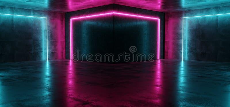 Танцевальный клуб приведенный лазера неонового пинка Sci Fi кибер футуристического современного пурпурного голубой накаляя освеща бесплатная иллюстрация