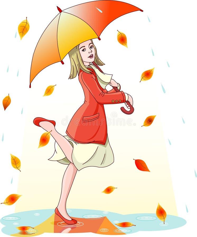 Танцевать в дожде бесплатная иллюстрация