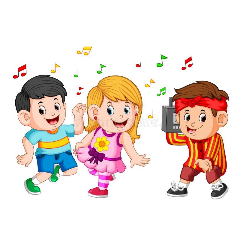 Танцевать детей Бедр-хмеля и мальчика держит винтажный магнитофон иллюстрация вектора