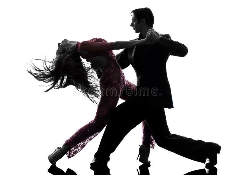 Танцоры бального зала женщины человека пар tangoing силуэт стоковое изображение