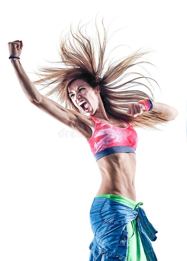 Танцоры женщины cardio танцуя фитнес работая isolat excercises стоковая фотография