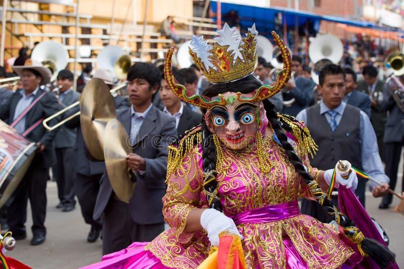 Танцоры на масленице Oruro в Боливии стоковое фото rf