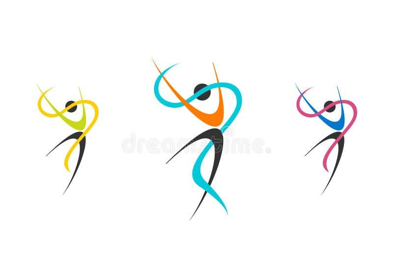 Танцоры логотип, комплект балерины здоровья, иллюстрация балета, фитнес, танцор, спорт, природа людей иллюстрация вектора