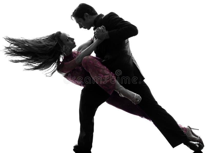 Танцоры бального зала женщины человека пар tangoing силуэт стоковые изображения
