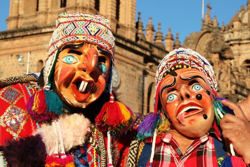 Танцоры Перу в масках на ежегодном фестивале Fiesta del Cusco, 2019 стоковая фотография
