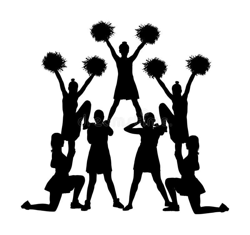 Танцоры чирлидера вычисляют изолированную иллюстрацию силуэта вектора Поддержка спорта девушки приветственного восклицания ведуща иллюстрация вектора