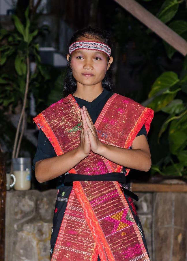 Танцоры Batak в Суматре, Индонезии стоковое изображение