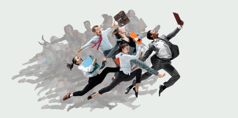 Танцоры Office или балета прыгают на белом фоне стоковое фото
