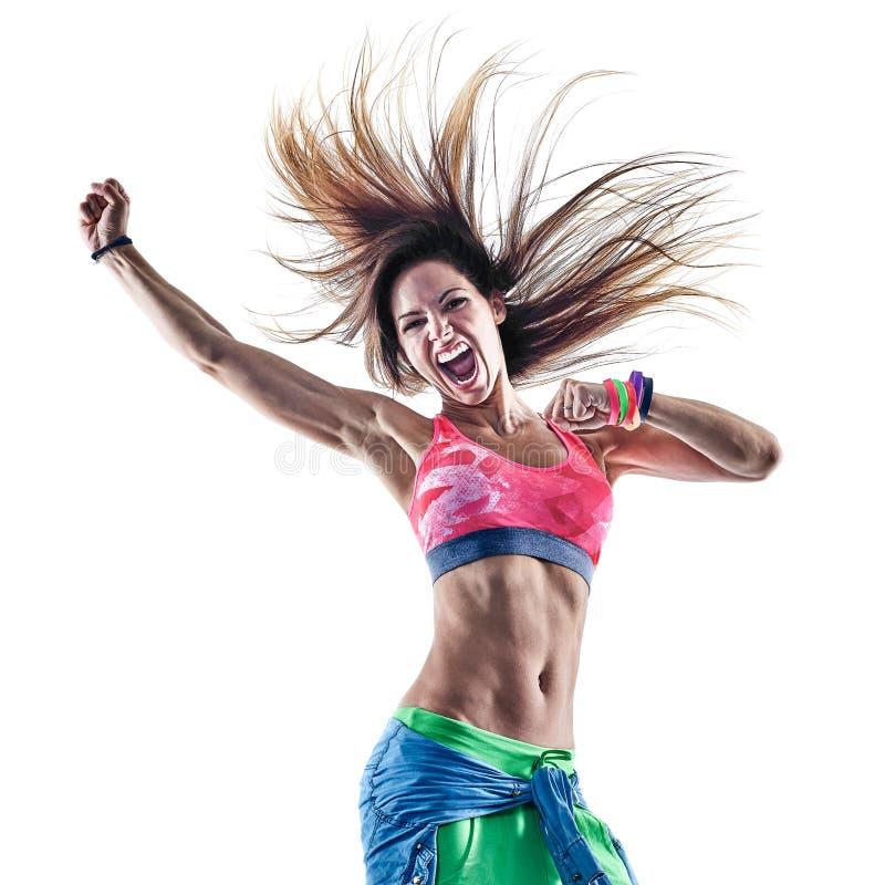 Танцоры zumba женщины танцуя фитнес работая isolat excercises стоковое изображение