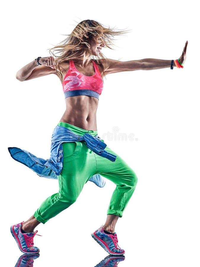 Танцоры zumba женщины танцуя фитнес работая isolat excercises стоковые фотографии rf