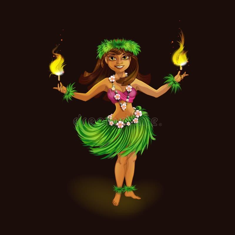 Танцор девушки в гавайских фольклорных одеждах с факелами для пламенистого танца Шоу танца и огня Hula иллюстрация вектора