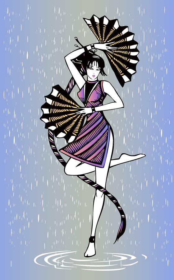 Танцор девушки черных волос с вентиляторы бесплатная иллюстрация