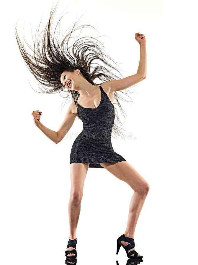 Танцор диско молодой женщины танцуя изолированная потеха белой предпосылки счастливая стоковое фото