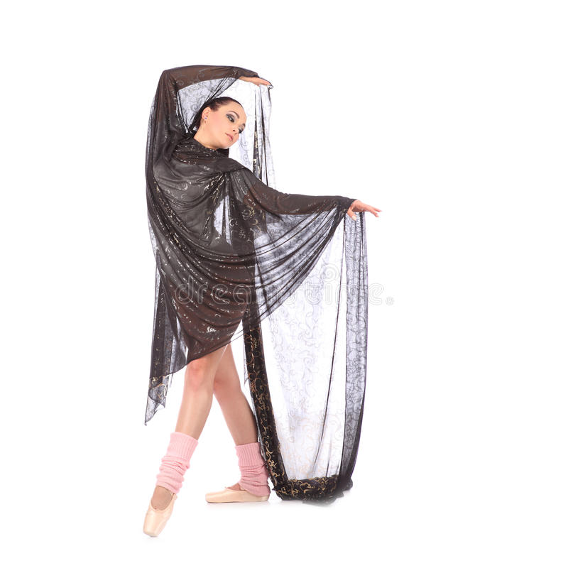 Танцор девушки одетый как балерина с красивой вуалью стоковое изображение rf