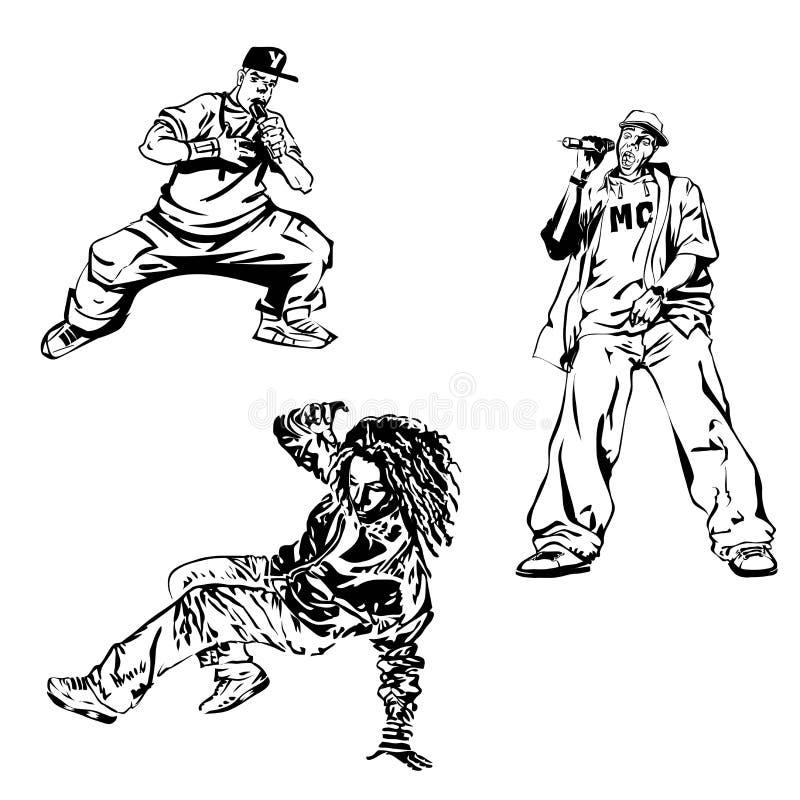 Танцор и MC Raper на белой предпосылке Печать весьма темы современная Изолировано на белизне бесплатная иллюстрация