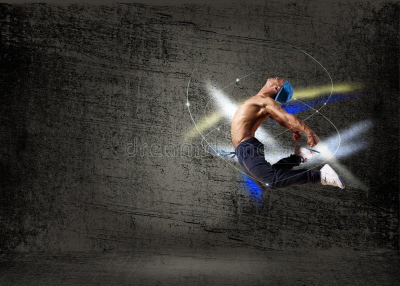 Танцор, на абстрактной предпосылке. коллаж стоковые фотографии rf