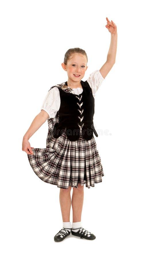 Танцор ребенка ирландский в костюме стоковое изображение rf