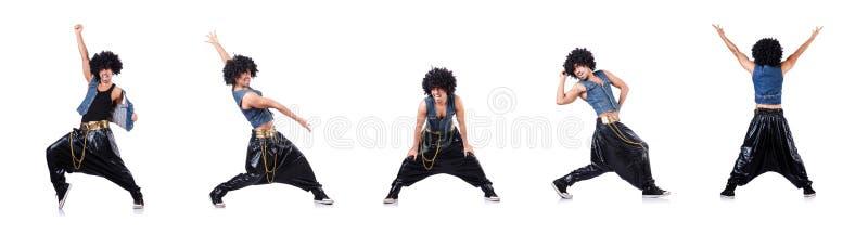 Танцор рэпа изолированный на белизне стоковое фото rf