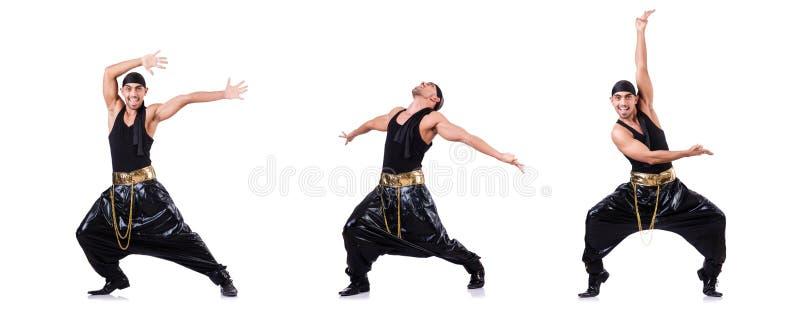 Танцор рэпа изолированный на белизне стоковое изображение rf
