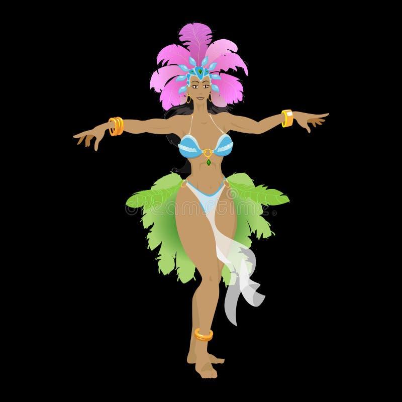 Танцор самбы в костюме масленицы стоковое изображение rf
