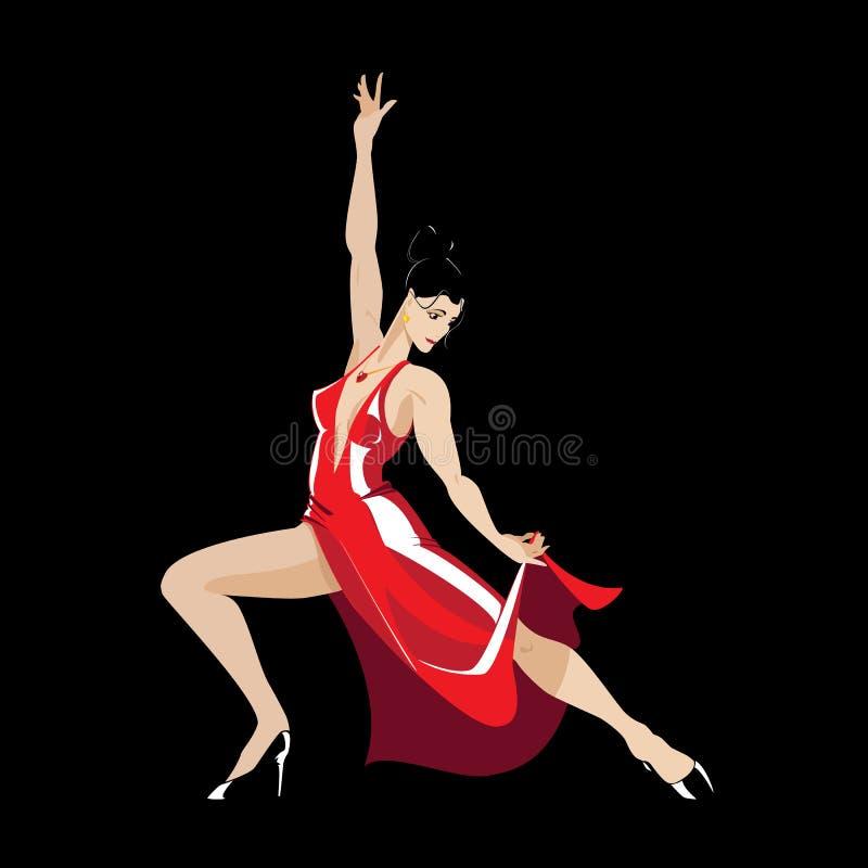 Танцор танго в платье шарлаха стоковое фото rf