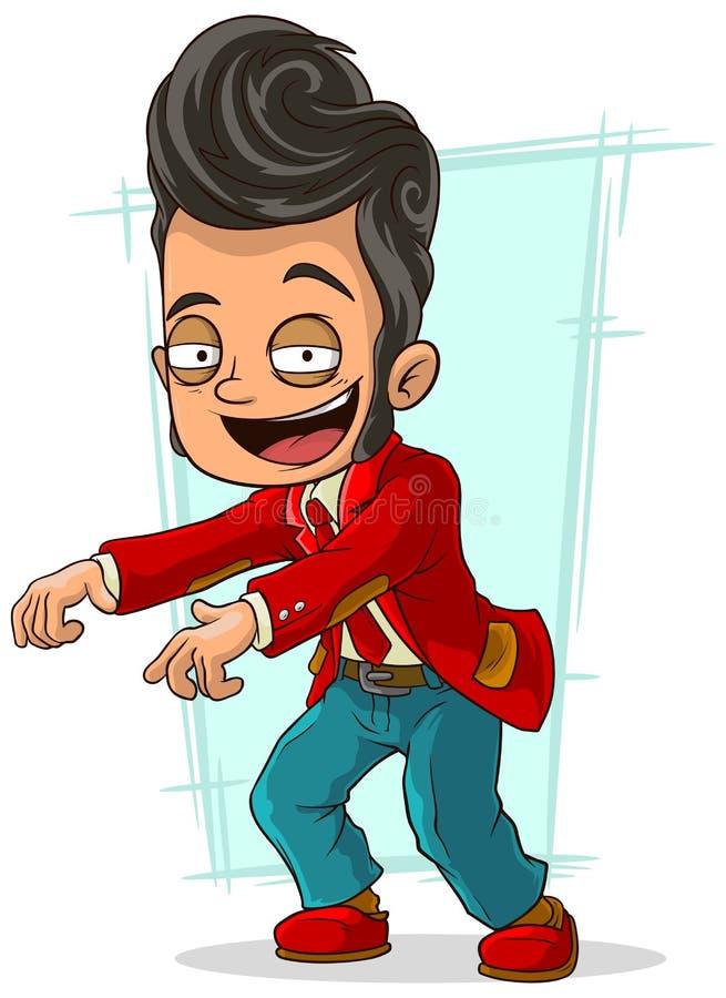 Танцор шаржа стильный в красной куртке бесплатная иллюстрация