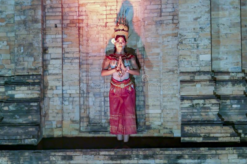 Танцор Apsara на виске, Siem Reap, Камбодже стоковая фотография rf