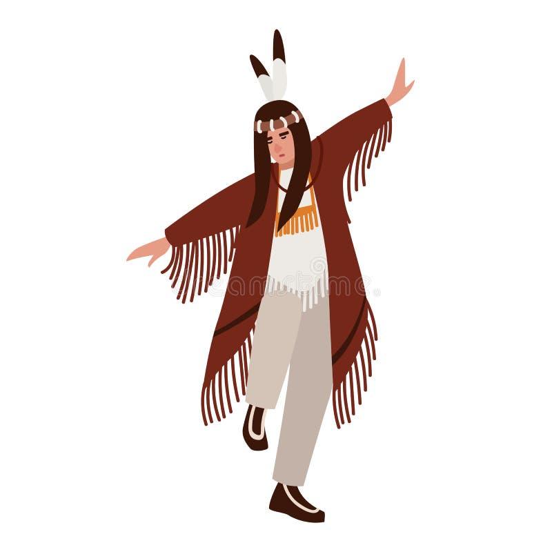 Танцуя американский индеец нося этнические одежды Человек выполняя ритуальный танец индигенных людей Америки мужчина бесплатная иллюстрация