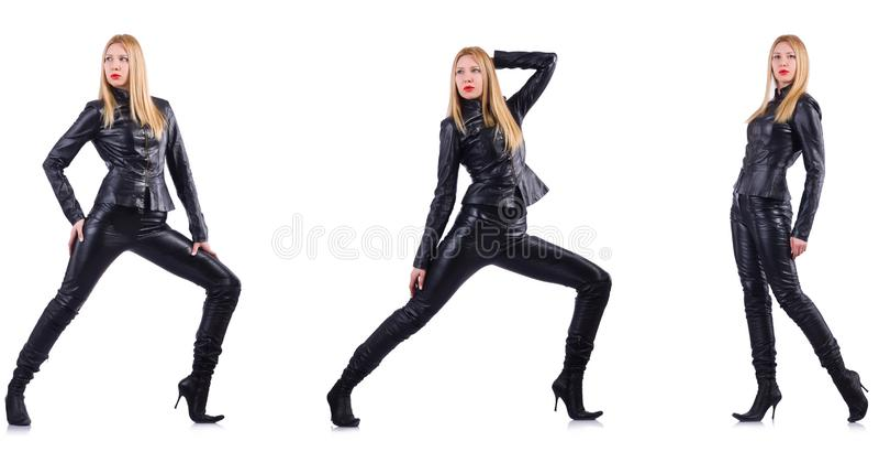 Танцуя женщина в черном кожаном костюме стоковые изображения rf
