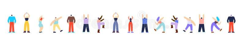 Танцуя картина Multi этнических людей горизонтальная иллюстрация штока