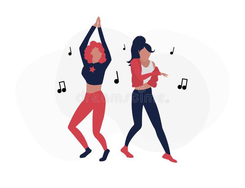 Танцуя люди Танцевать 2 девушек иллюстрация вектора