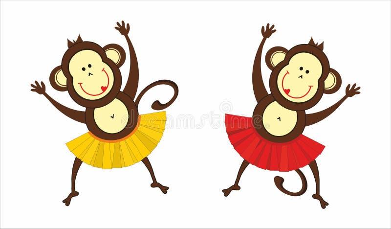 2 танцуя обезьяны иллюстрация штока