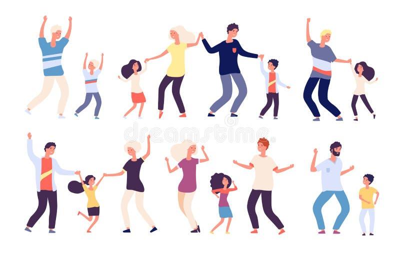 Танцуя родители с детьми Счастливые дети папа и танцоры ребенка человека женщины семьи танца мамы Изолированный мультфильм вектор иллюстрация штока