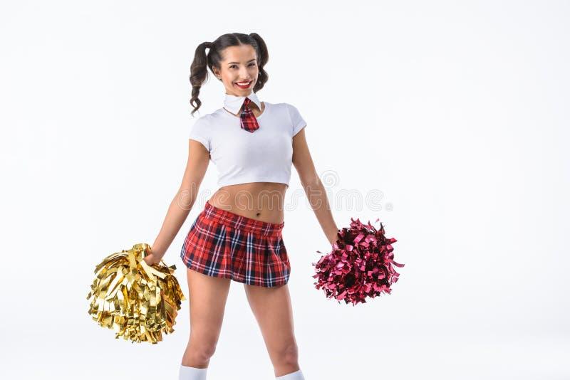 танцуя сексуальная школьница с pompoms чирлидера стоковое фото rf