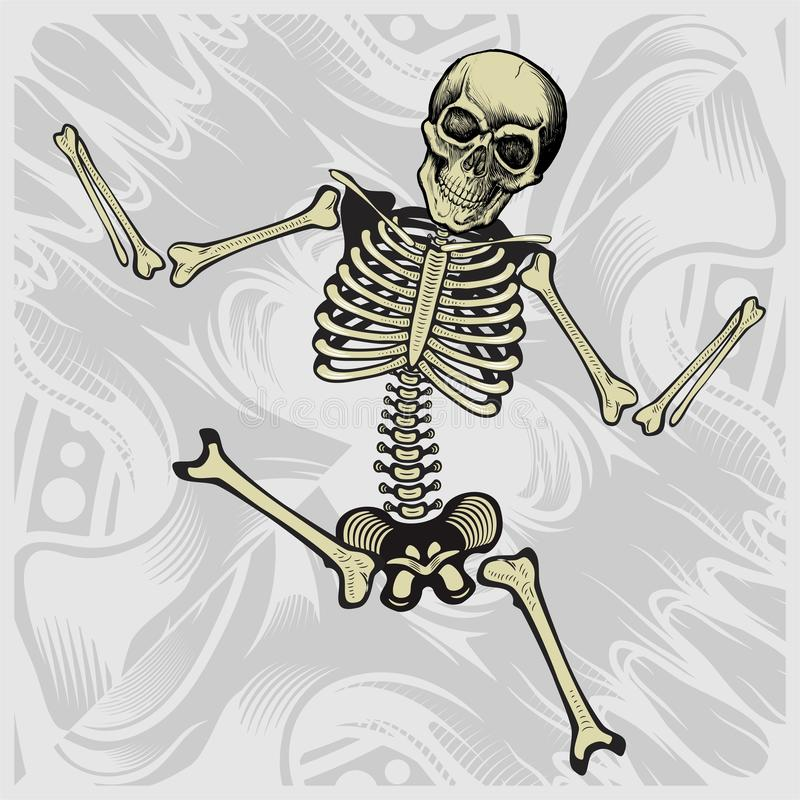 Танцуя скелет вектор чертежа руки детализировал иллюстрация вектора