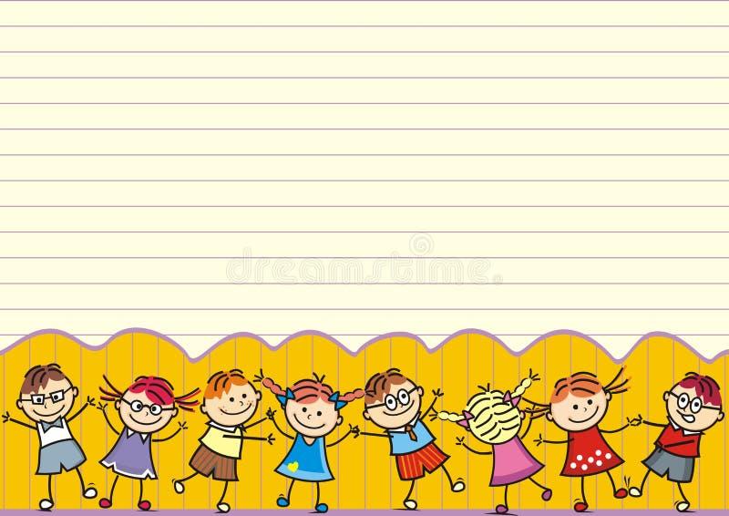 Танцуя счастливые дети, открытка, смешная иллюстрация бесплатная иллюстрация