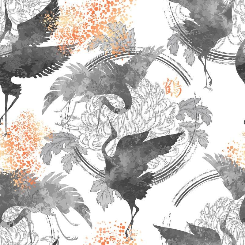 Танцуя японские краны иллюстрация вектора