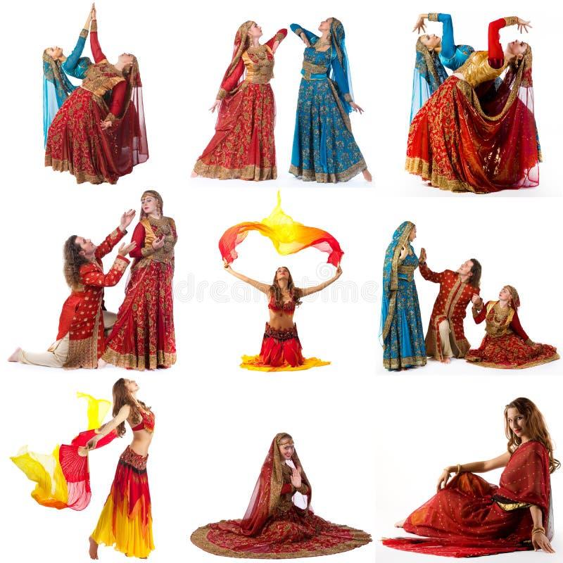 Танцулька живота Коллаж танцоров в богато украшенных костюмах стоковое фото