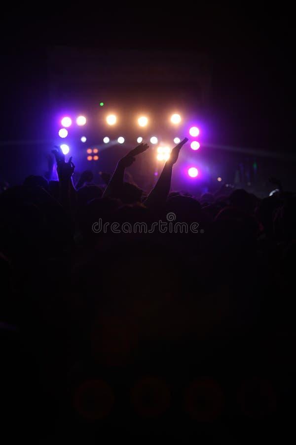 Танцы аудитории концерта стоковое изображение rf