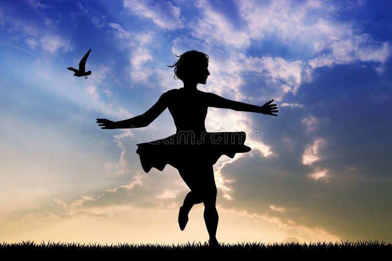 Танцы девушки с ее юбкой в ветре иллюстрация штока