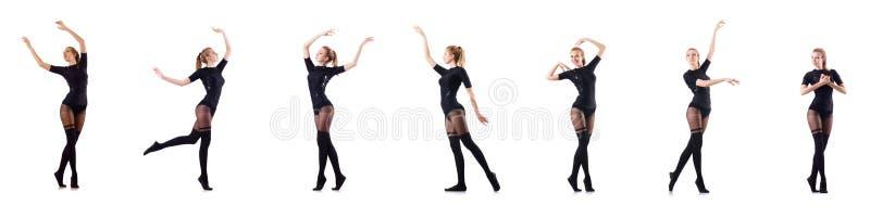 Танцы женщины изолированные на белизне стоковая фотография rf
