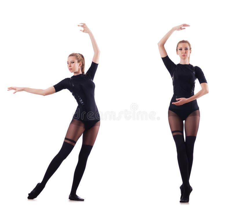 Танцы женщины изолированные на белизне стоковая фотография
