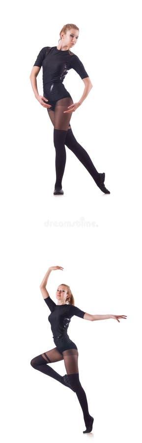 Танцы женщины изолированные на белизне стоковое фото rf