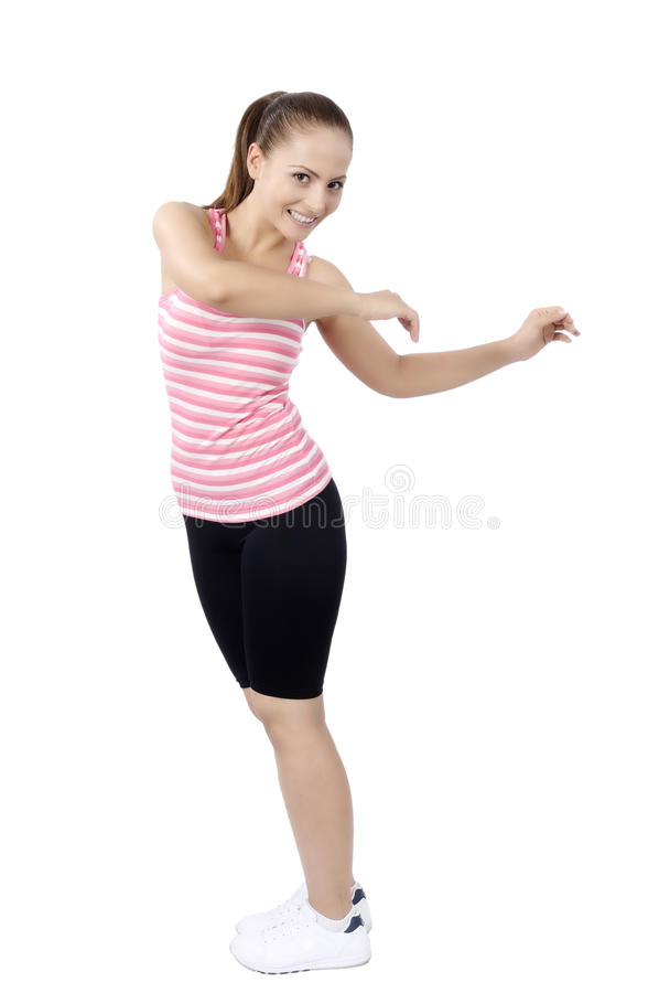 Танцы женщины танц-класса фитнеса Zumba стоковое изображение